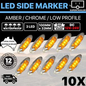 10X Amber Clearance light side marker led trailer Truck LORRY LAMP Chrome 12-24V