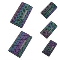 Women Fashion Long Clutch Luminous Trifold Wallet Geometric Noctilucent Purse
