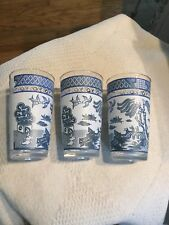 """Vintage Blue Willow Glass Frosted juice Drinking Tumbler 5"""" 8 oz set of 3 EUC"""