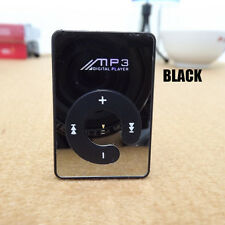 16GB Mini Mirror MP3 Music Player Clip Support Black Micro TF Card Portable