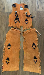 sheplers leather Youth chaps And Vest Fringe UT Texas Longhorns Cowboy