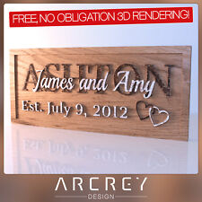 PERSONALISED WEDDING / ANNIVERSARY GIFT - CUSTOM ENGRAVED OAK PLAQUE / SIGN