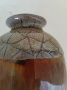 Tall Ceramic Pottery Vase Brown Unusual top and Base is Gold shading into Green