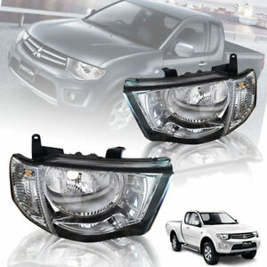 CLEAR LENS HEAD LIGHT FRONT LAMP PAIR FIT FOR MITSUBISHI TRITON L200 2005-2014