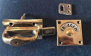 RESTORED VINTAGE BRASS VACANT ENGAGED TOILET BATHROOM LOCK BOLT INDICATOR DOOR