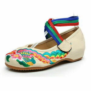 Women's Ankle Cross Rope Tie Strap Chinese Style Pembroidery Wedge Comfy Shoes