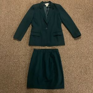 VTG Pendleton Green Wool Skirt Suit Blazer Jacket Career Two Piece Sz 8 Vintage