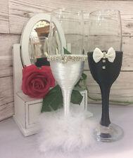 Mr & Mrs glasses BRIDE and GROOM  Wedding Glasses Champagne Flutes black white