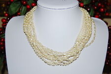 BEAUTIFUL VINTAGE MULTIPLE STRAND NECKLACE OF ACRYLIC FAUX RICE AND ROUND PEARLS