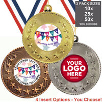 CHILDRENS BIRTHDAY PARTY METAL MEDALS 50mm, PACK OF 10 RIBBONS INSERTS OWN TEXT