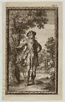 MANN auf der JAGD Original C. Decker Kupferstich um 1780 Mythologie Jäger jagen