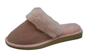 Womens Natural Leather And Natural Sheepskin Fur Slippers Mules UK2-9 / EU40-42