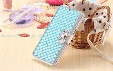 Lujo Brillantes Moño Cristal De Diamante Funda Libro Cartera para iPhone/Samsung