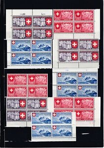 1939 Landesausstellung komplett Mi. 335 - 343 Postfrisch **4er Blöcke € 140,--