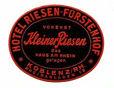 Vintage Hotel Luggage Label HOTEL RIESEN-FURSTENHOF Koblenz Germany embossed