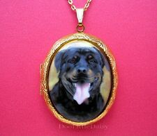 Porcelain ROTTWEILER Rottie DOG CAMEO Locket Pendant Necklace for Birthday Gift