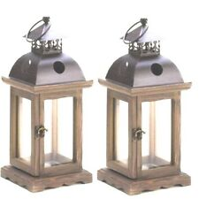 2 Rustic Wood Cande Lantern Monticello Candleholder Wedding Centerpieces