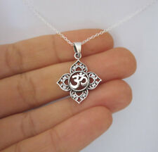 Filigree OHM OM AUM Buddha Lotus silver pendant necklace,Buddhist, yoga necklace