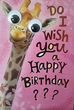 Cute Funny Giraffe Birthday Card.  Free Shipping.  Card Envelope Included....