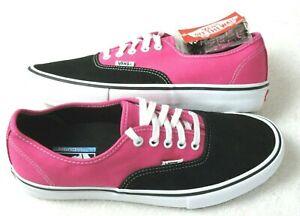Vans Mens Authentic Pro Black Magenta Pink Canvas Suede Skate shoes Size 10.5