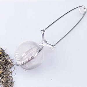 Stainless Steel Spoon Tea Ball Infuser Filter Squeeze Leaves Herb Mesh St-AU
