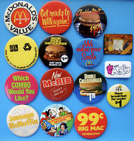 15 Vintage McDonald's Pinback Button Lot - No Doubles - Some From Canada - C