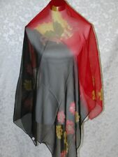New 100% Silk Scarf Black Red Butterfly