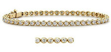 1.60 Ct Natural Round Cut Diamond F VS1 Tennis Bracelets 7 inch 18k Gold Yellow
