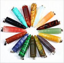 wholesale 8pcs/lot Fashion assorted natural stone bullet pendulum pendants