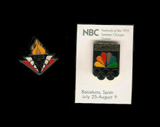 2 Media Pins - NBC peacock icon and torch - Barcelona Summer Olympics