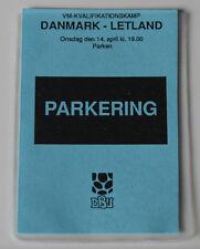 Ticket pass for collectors World Cup q Denmark - Latvia 1993 in Copenhagen
