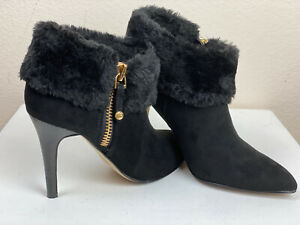 Marc Fisher Black Faux Fur Bootie Stiletto Suede Size 7 CAHOOT2 Pointed Toe $129