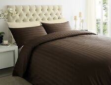 250TC 100% Egyptian Cotton Sateen Stripe Duvet Quilt Cover Bedding Set All Sizes