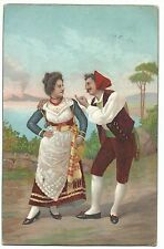 Superb Litho Printed Italian Couple in Front of Vesuvius PPC, Hampstead 1904 PMK