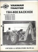 Original OEM OE Yanmar Model YBH-800 Backhoe Operators and Parts Manual # 9914