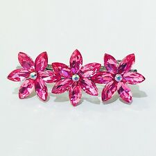 WOMENS BARRETTE use Swarovski Crystal Hair Clip Hairpin Elegant PINK FLOWER B12