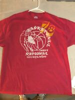 Hanes Beefy 78 National Basketball Tournament T Shirt / Red Yellow / Men's XL
