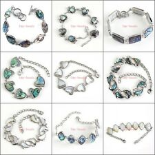 Natural Silver Plated Abalone Shell Hand Made Shell Adjustable Bracelets Jewelry