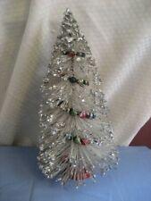 "Vintage 13"" Glitter Bottle Brush Christmas Tree Mercury Glass Ornaments Japan"