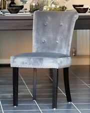 Grey Velvet Studded Dining Occasional Bedroom Chair Chrome Back Knocker Ring