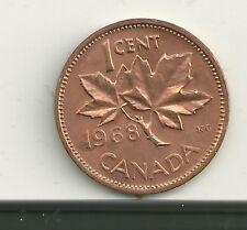 Canada 1968 1 Cent Copper Coin Brilliant Red MS