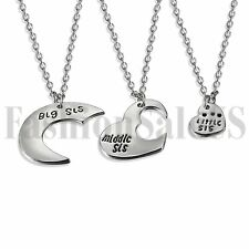 3pcs Silver Tone Little Middle Big Sister Matching Love Heart Necklace Chain Set