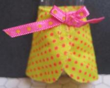 MONSTER HIGH GLOOM BEACH DRACULAURA Cloth-Yellow PInk Polka Dot Bow Swim Skirt