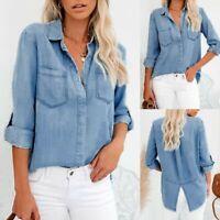 Fashion Women Denim Shirt Ladies Classic Fitted Shirts Size Blue jean Top AU