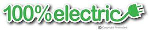 100 Percent Electric Car Vehicle EV Bumper Sticker Decal LEAF Tesla BMW i3 Bolt