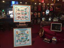 "Set of 1960's Las Vegas Commemorative Silk Framed Scarves 33 x 32 ""WATCH VIDEO"""