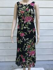 Nicole Miller 6 Black Pink Green Floral Silk Sequin Sleeveless Dress, Drape Back