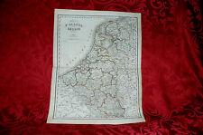 Mappa Carta Geografica Acquerellata Regno di Olanda e Belgio Civelli 1860