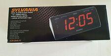 Sylvania Dual Alarm Clock Radio, SCR1206B-PL AM/FM LED DISPLAY