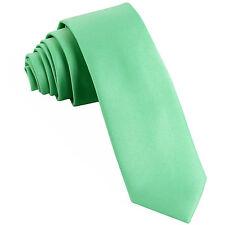 "New Polyester Men's 2.5"" skinny Neck Tie only solid formal wedding aqua green"
